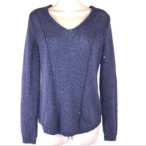 Chico's Blue Sequin Bling Sweater, Size Small